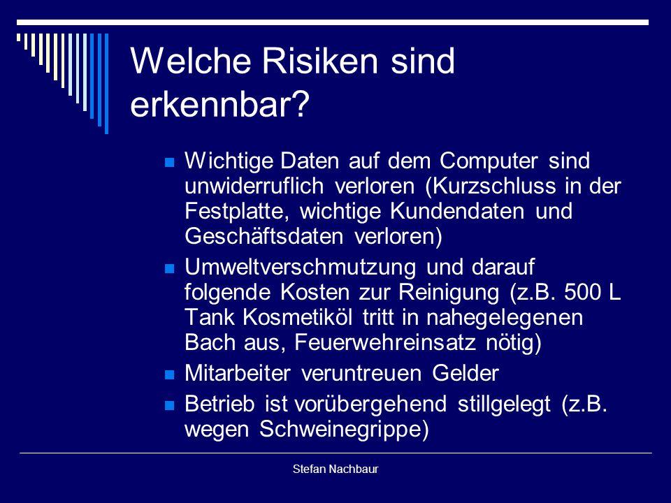 Stefan Nachbaur Welche Risiken sind erkennbar.