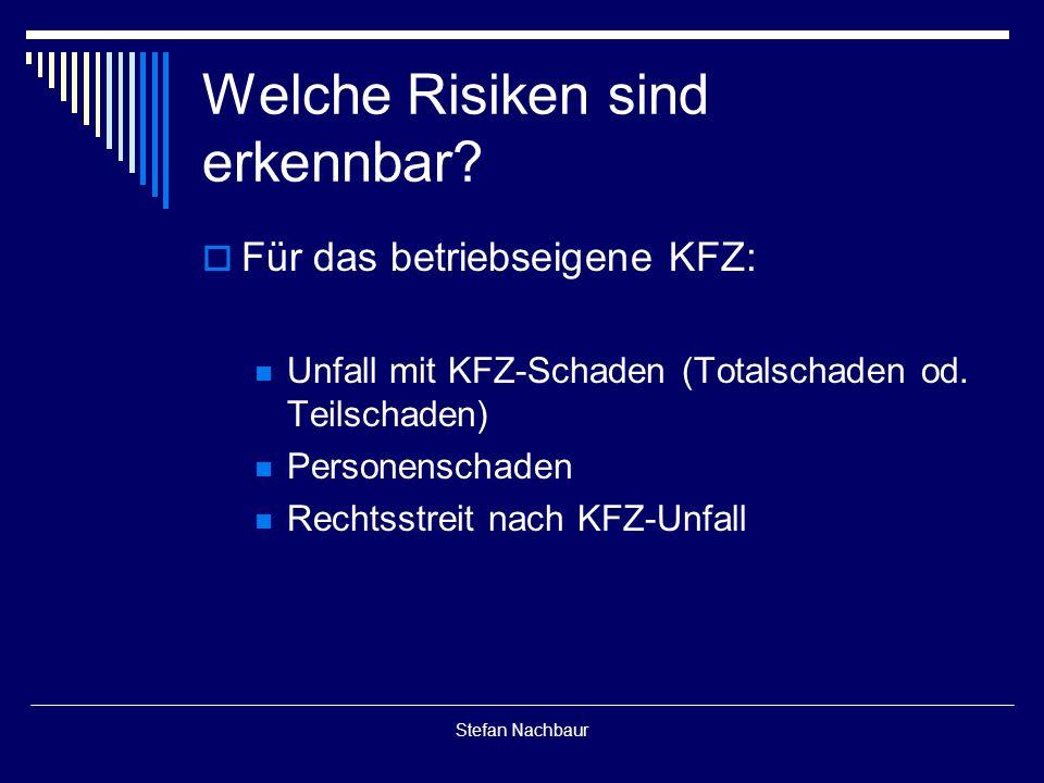 Stefan Nachbaur  Für das betriebseigene KFZ: Unfall mit KFZ-Schaden (Totalschaden od.