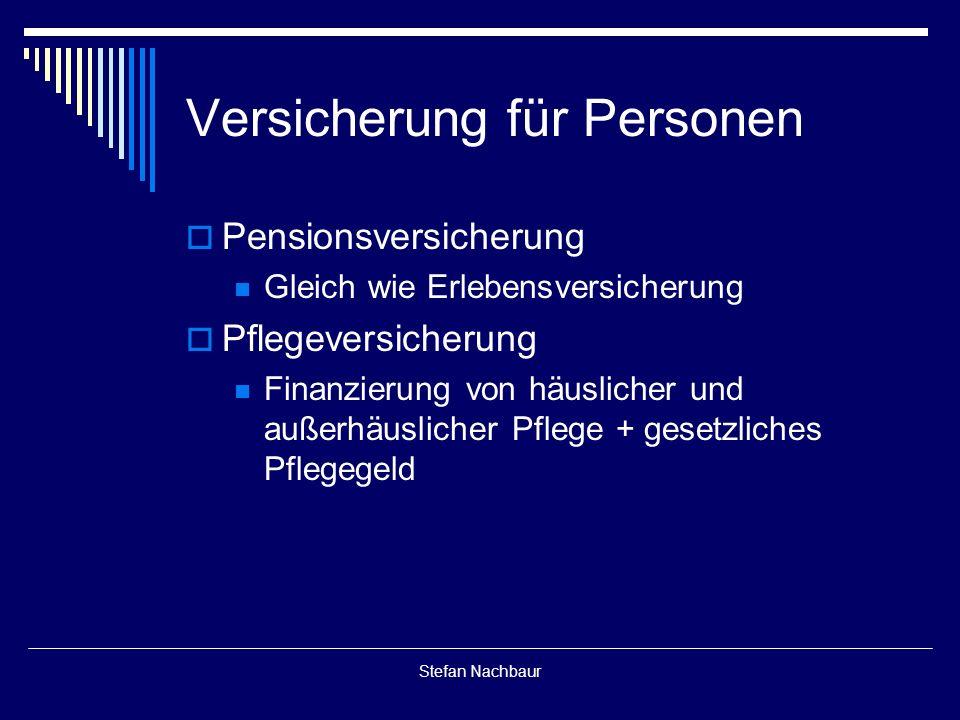Stefan Nachbaur Versicherung für Personen  Pensionsversicherung Gleich wie Erlebensversicherung  Pflegeversicherung Finanzierung von häuslicher und außerhäuslicher Pflege + gesetzliches Pflegegeld