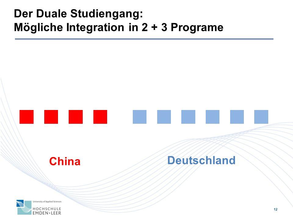 12 Der Duale Studiengang: Mögliche Integration in 2 + 3 Programe China Deutschland