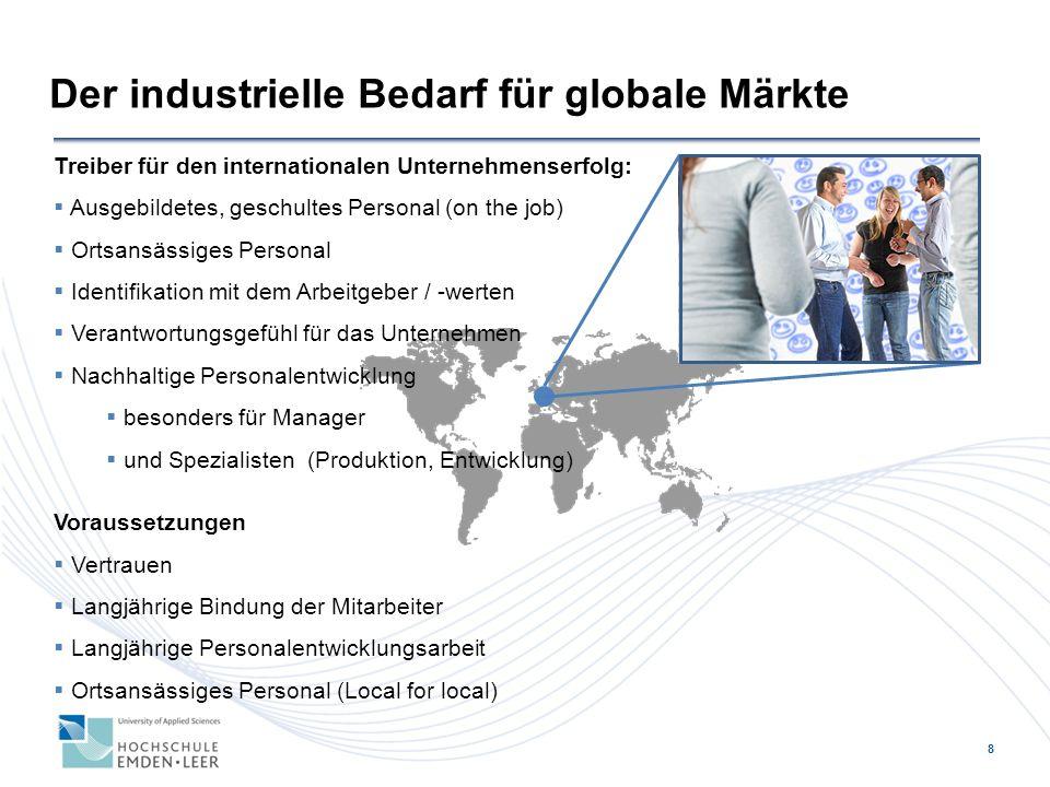 8 Der industrielle Bedarf für globale Märkte Treiber für den internationalen Unternehmenserfolg:  Ausgebildetes, geschultes Personal (on the job)  O