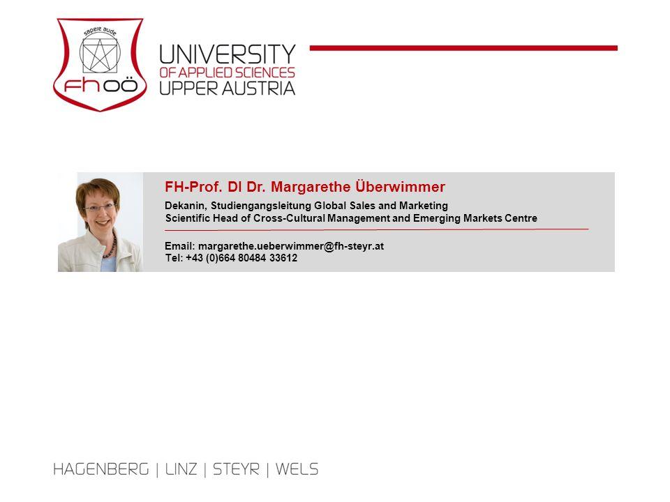 FH-Prof. DI Dr. Margarethe Überwimmer Dekanin, Studiengangsleitung Global Sales and Marketing Scientific Head of Cross-Cultural Management and Emergin