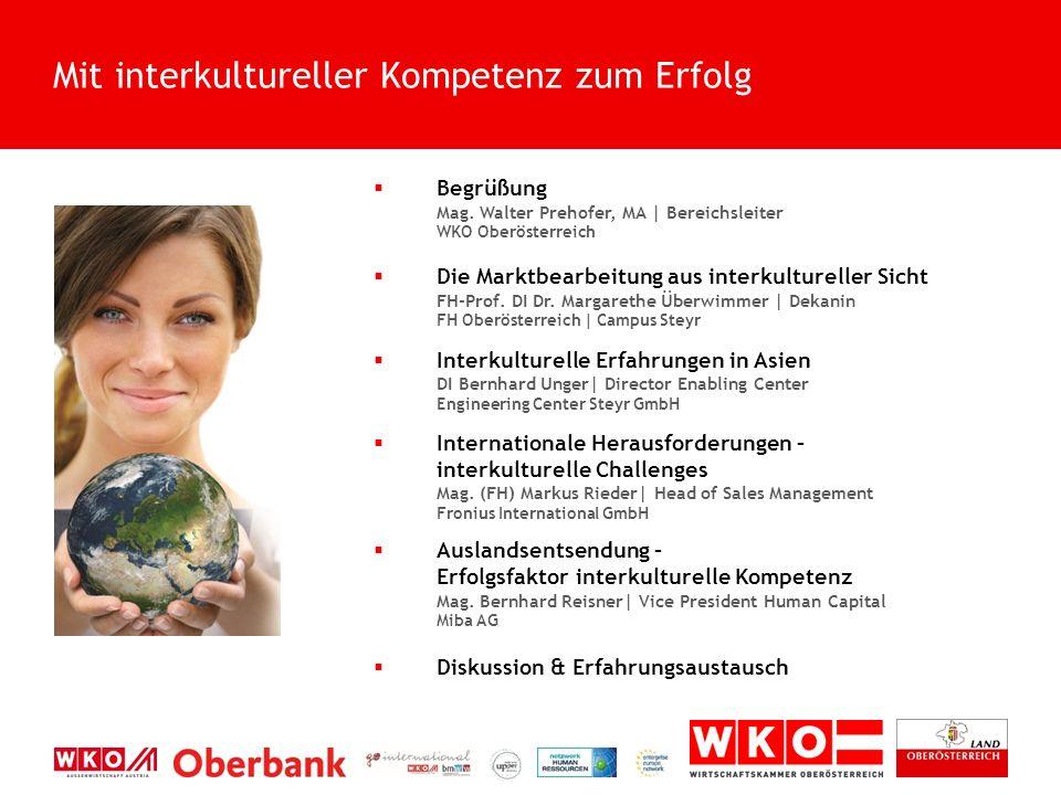  Begrüßung Mag. Walter Prehofer, MA | Bereichsleiter WKO Oberösterreich  Die Marktbearbeitung aus interkultureller Sicht FH-Prof. DI Dr. Margarethe