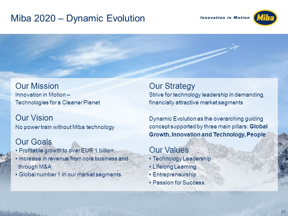 Miba 2020 – Dynamic Evolution Our Mission Innovation in Motion – Technologies for a Cleaner Planet Our Vision No power train without Miba technology Our Goals Profitable growth to over EUR 1 billion Increase in revenue from core business and through M&A Global number 1 in our market segments Our Strategy Strive for technology leadership in demanding, financially attractive market segments Dynamic Evolution as the overarching guiding concept supported by three main pillars: Global Growth, Innovation and Technology, People Our Values Technology Leadership Lifelong Learning Entrepreneurship Passion for Success 21
