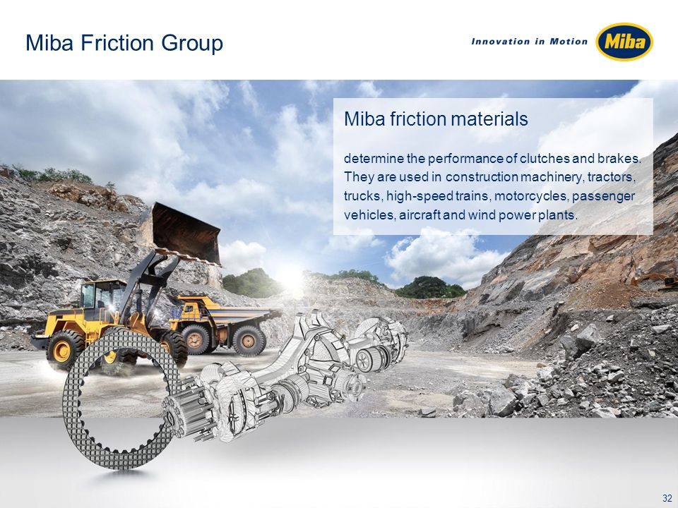 Miba Friction Group Miba friction materials determine the performance of clutches and brakes. They are used in construction machinery, tractors, truck
