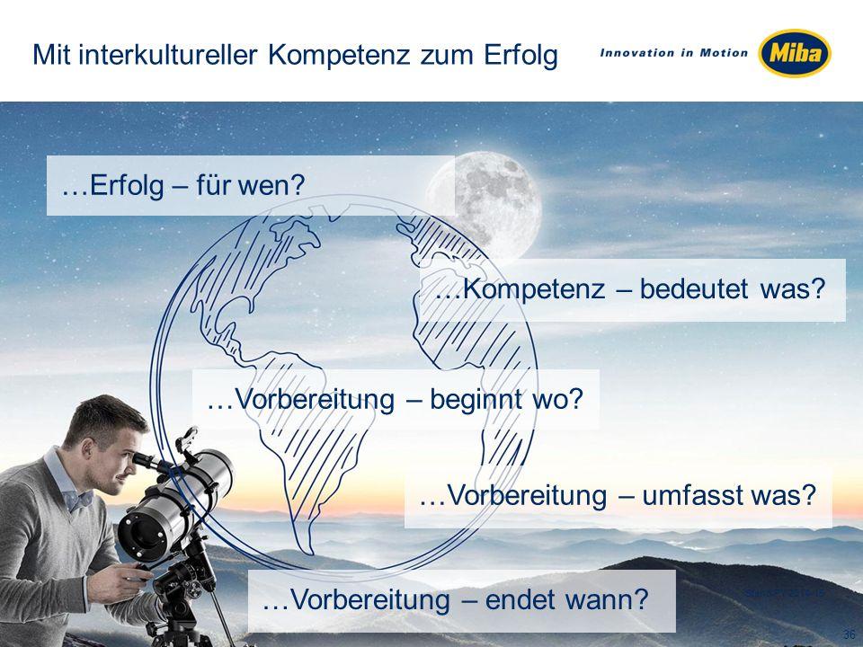 Mit interkultureller Kompetenz zum Erfolg …Erfolg – für wen? 36 Stand FY 2014-15 …Vorbereitung – beginnt wo? …Vorbereitung – umfasst was? …Vorbereitun