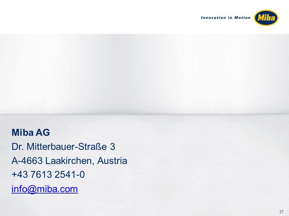 Miba AG Dr. Mitterbauer-Straße 3 A-4663 Laakirchen, Austria +43 7613 2541-0 info@miba.com 37