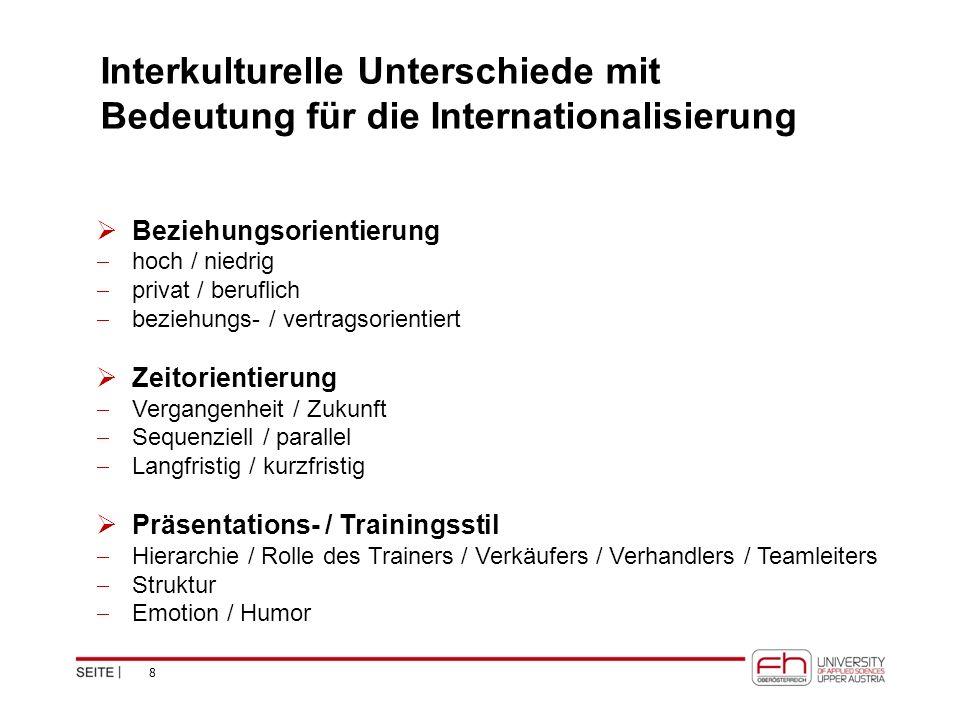 Interkulturelle Unterschiede mit Bedeutung für die Internationalisierung  Beziehungsorientierung  hoch / niedrig  privat / beruflich  beziehungs-