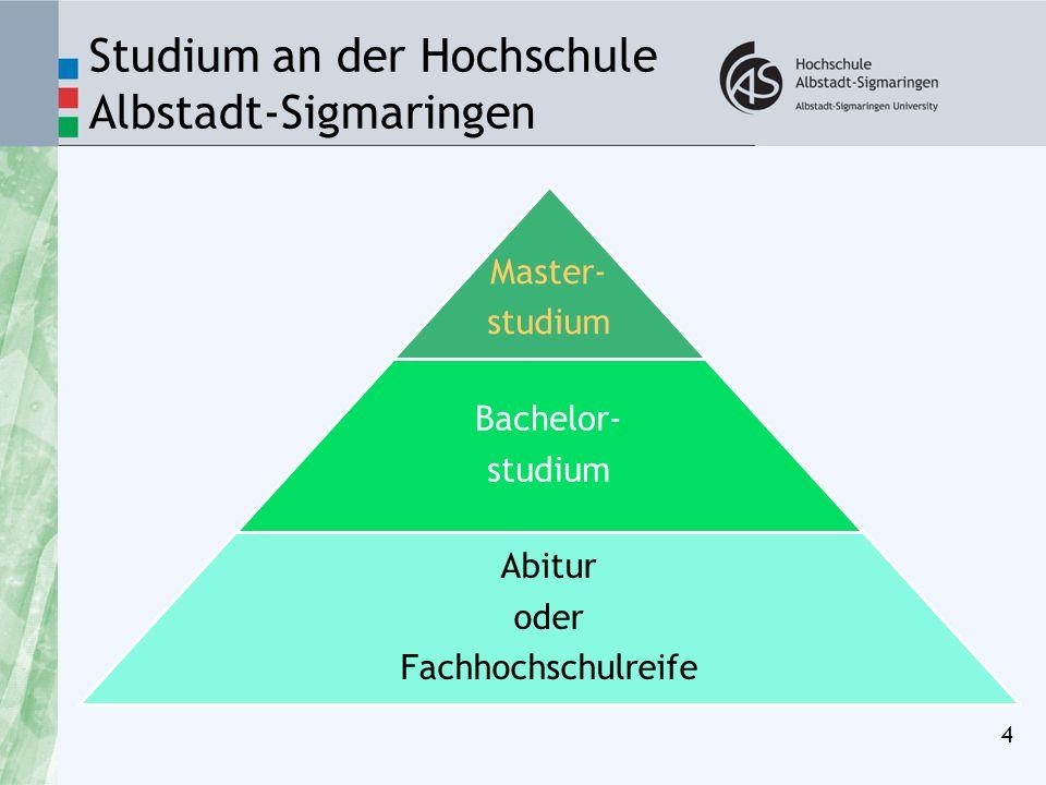 Studium an der Hochschule Albstadt-Sigmaringen 4 Master- studium Bachelor- studium Abitur oder Fachhochschulreife
