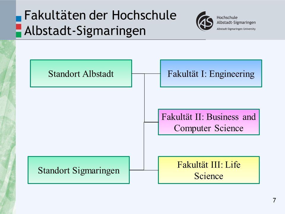 Fakultäten der Hochschule Albstadt-Sigmaringen 7 Standort Sigmaringen Standort Albstadt Fakultät III: Life Science Fakultät I: Engineering Fakultät II