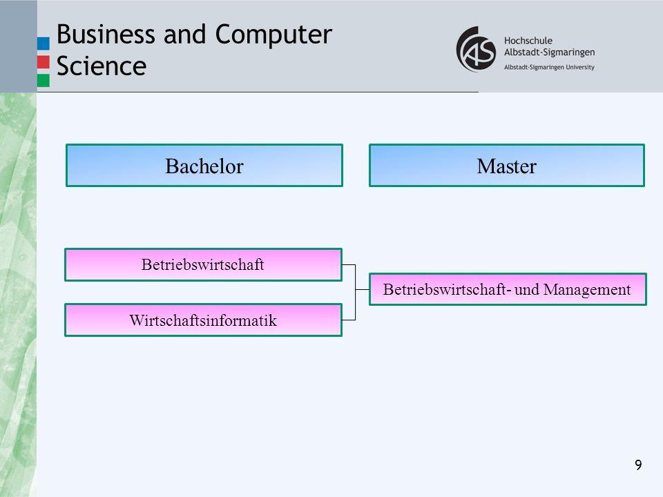 Business and Computer Science 9 BachelorMaster Betriebswirtschaft- und Management Wirtschaftsinformatik Betriebswirtschaft