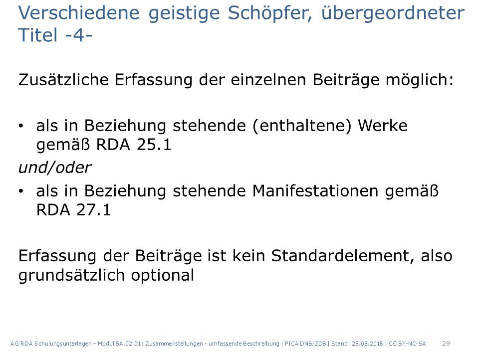 Verschiedene geistige Schöpfer, übergeordneter Titel -4- Zusätzliche Erfassung der einzelnen Beiträge möglich: als in Beziehung stehende (enthaltene) Werke gemäß RDA 25.1 und/oder als in Beziehung stehende Manifestationen gemäß RDA 27.1 Erfassung der Beiträge ist kein Standardelement, also grundsätzlich optional 29 AG RDA Schulungsunterlagen – Modul 5A.02.01: Zusammenstellungen - umfassende Beschreibung | PICA DNB/ZDB | Stand: 28.08.2015 | CC BY-NC-SA