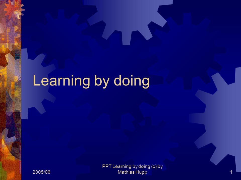 2005/06 PPT Learning by doing (c) by Mathias Hupp2 Aufgabenstellung  In der heutigen Unterrichtseinheit soll diese Präsentation (genau dieser Vorlage entsprechend) erstellt werden  Probleme miteinander diskutieren und lösen – Zimmerlautsterke  Bei Fragen betreuende Lehrer kontaktieren.