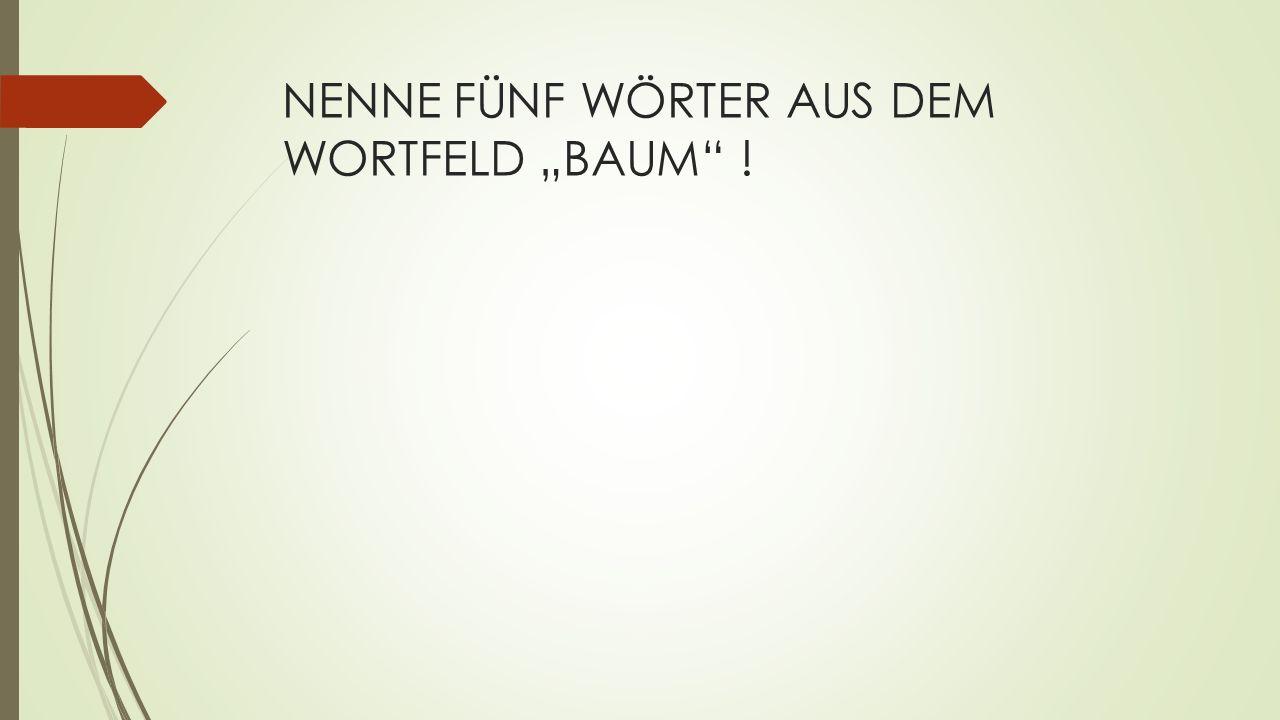 "NENNE FÜNF WÖRTER AUS DEM WORTFELD ""BAUM !"
