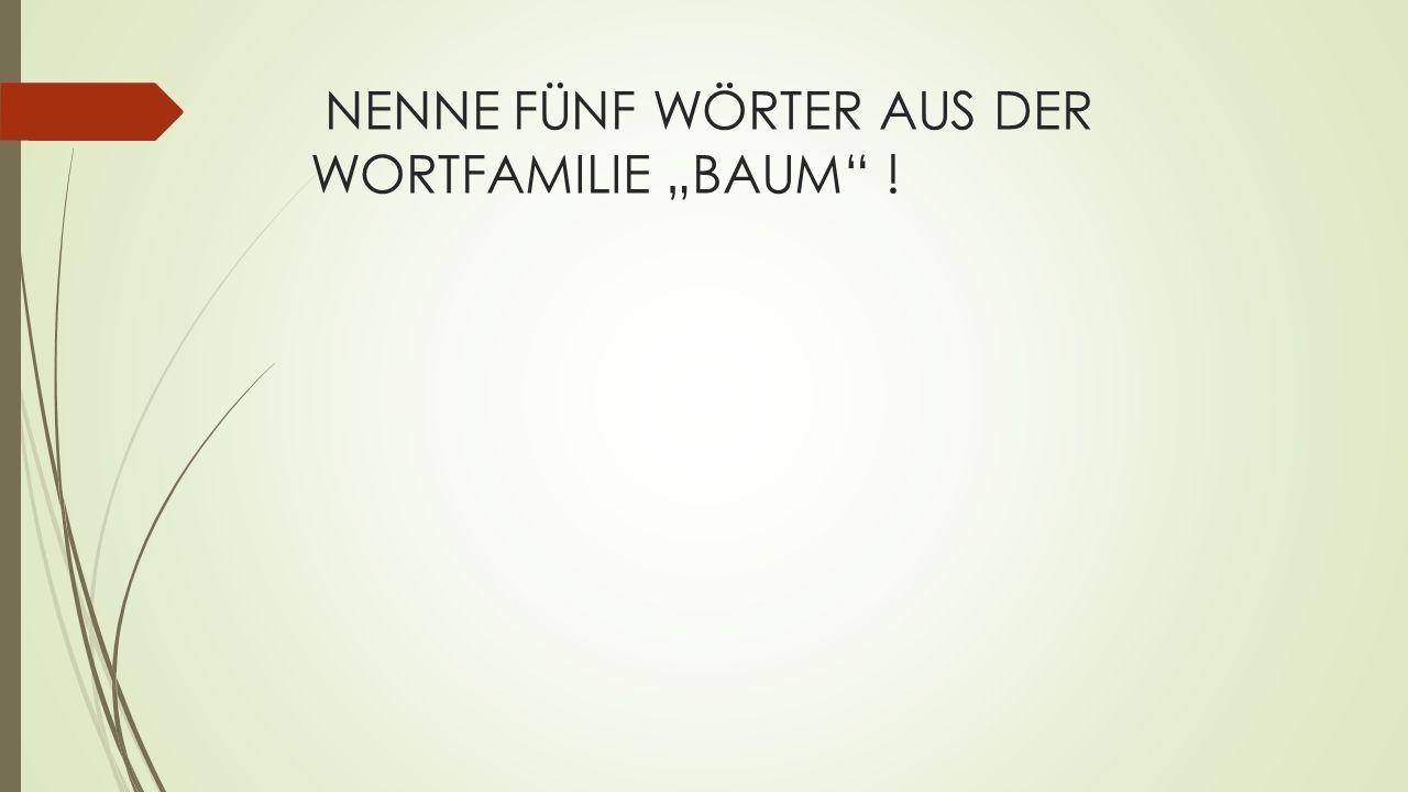 """NENNE FÜNF WÖRTER AUS DER WORTFAMILIE """"BAUM !"""