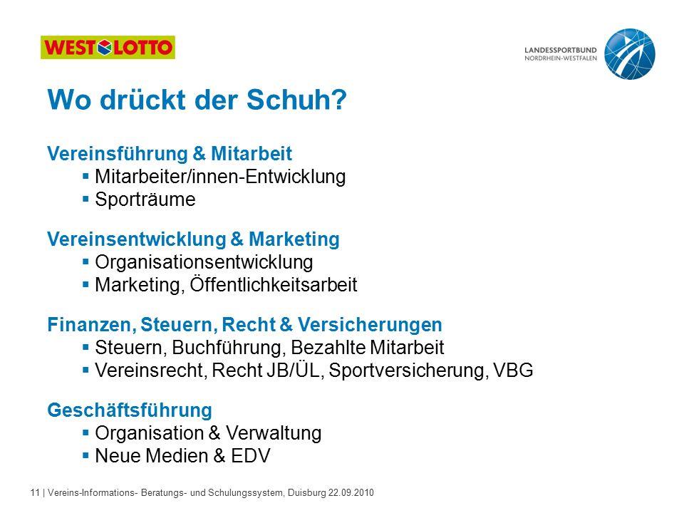 11 | Vereins-Informations- Beratungs- und Schulungssystem, Duisburg 22.09.2010 Wo drückt der Schuh.
