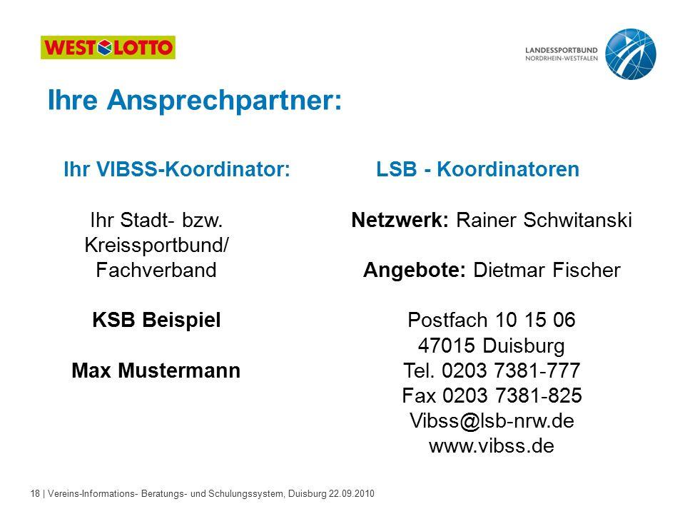 18 | Vereins-Informations- Beratungs- und Schulungssystem, Duisburg 22.09.2010 Ihre Ansprechpartner: LSB - KoordinatorenIhr VIBSS-Koordinator: Ihr Stadt- bzw.