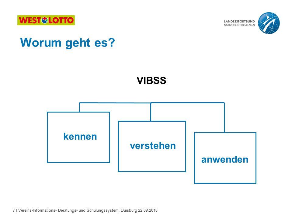 7 | Vereins-Informations- Beratungs- und Schulungssystem, Duisburg 22.09.2010 Worum geht es.