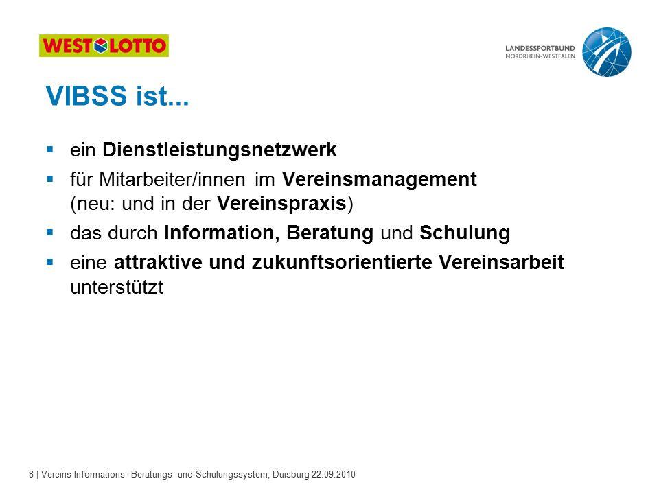 8 | Vereins-Informations- Beratungs- und Schulungssystem, Duisburg 22.09.2010 VIBSS ist...