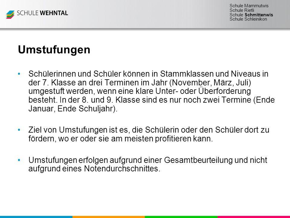 Schule Mammutwis Schule Rietli Schule Schmittenwis Schule Schleinikon Umstufungen Schülerinnen und Schüler können in Stammklassen und Niveaus in der 7