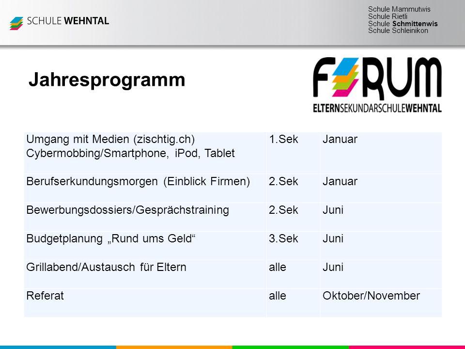 Schule Mammutwis Schule Rietli Schule Schmittenwis Schule Schleinikon Jahresprogramm Umgang mit Medien (zischtig.ch) Cybermobbing/Smartphone, iPod, Ta