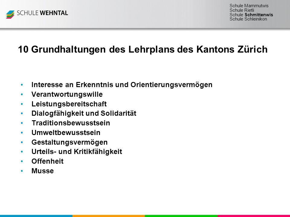 Schule Mammutwis Schule Rietli Schule Schmittenwis Schule Schleinikon 10 Grundhaltungen des Lehrplans des Kantons Zürich Interesse an Erkenntnis und O