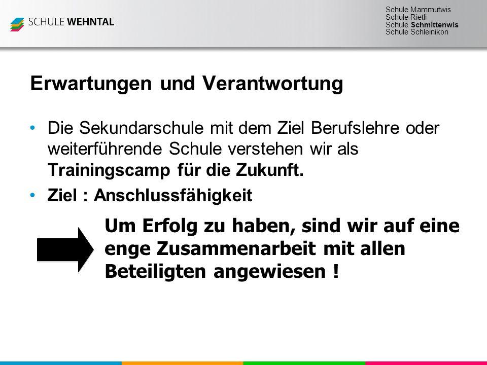 Schule Mammutwis Schule Rietli Schule Schmittenwis Schule Schleinikon Erwartungen und Verantwortung Die Sekundarschule mit dem Ziel Berufslehre oder w