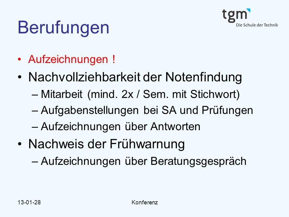 13-01-28Konferenz Berufungen Aufzeichnungen ! Nachvollziehbarkeit der Notenfindung –Mitarbeit (mind. 2x / Sem. mit Stichwort) –Aufgabenstellungen bei