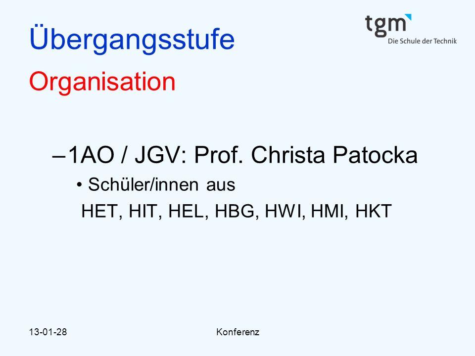 13-01-28Konferenz Übergangsstufe Organisation –1AO / JGV: Prof. Christa Patocka Schüler/innen aus HET, HIT, HEL, HBG, HWI, HMI, HKT