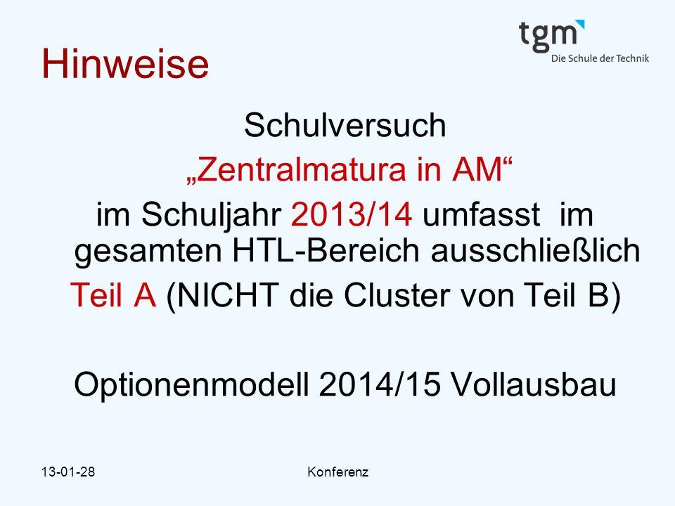 """13-01-28Konferenz Hinweise Schulversuch """"Zentralmatura in AM im Schuljahr 2013/14 umfasst im gesamten HTL-Bereich ausschließlich Teil A (NICHT die Cluster von Teil B) Optionenmodell 2014/15 Vollausbau"""