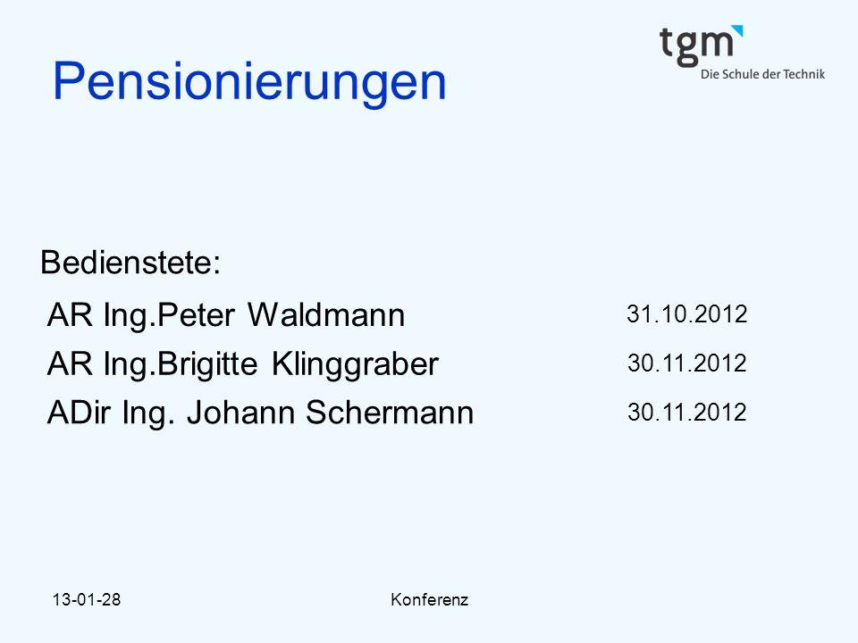 13-01-28Konferenz Pensionierungen Bedienstete: AR Ing.Peter Waldmann 31.10.2012 AR Ing.Brigitte Klinggraber 30.11.2012 ADir Ing. Johann Schermann 30.1