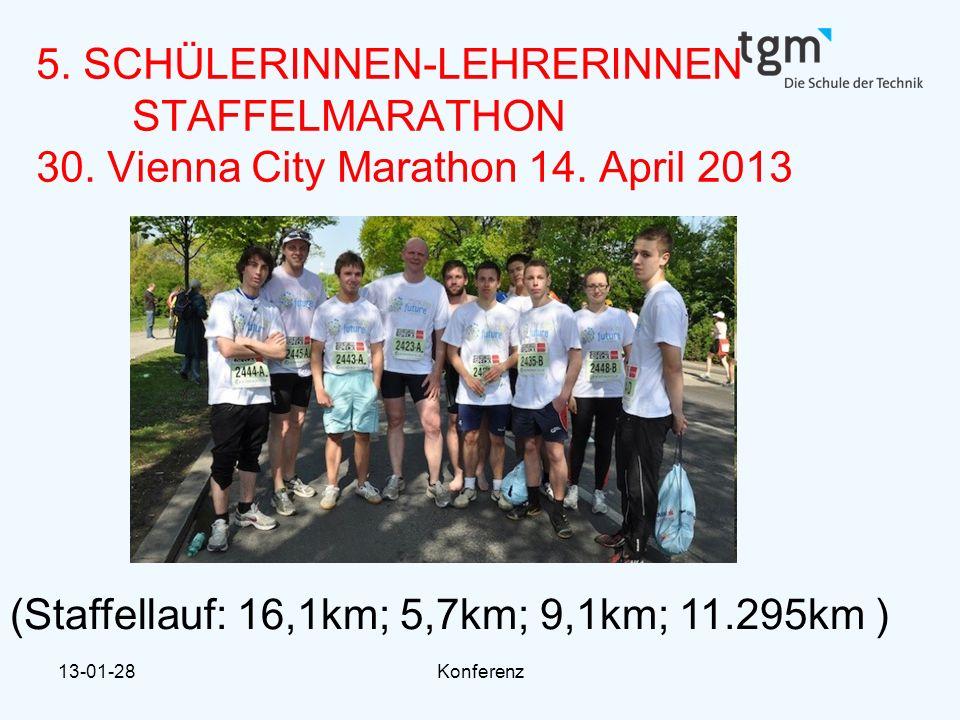 13-01-28Konferenz 5. SCHÜLERINNEN-LEHRERINNEN STAFFELMARATHON 30. Vienna City Marathon 14. April 2013 (Staffellauf: 16,1km; 5,7km; 9,1km; 11.295km )