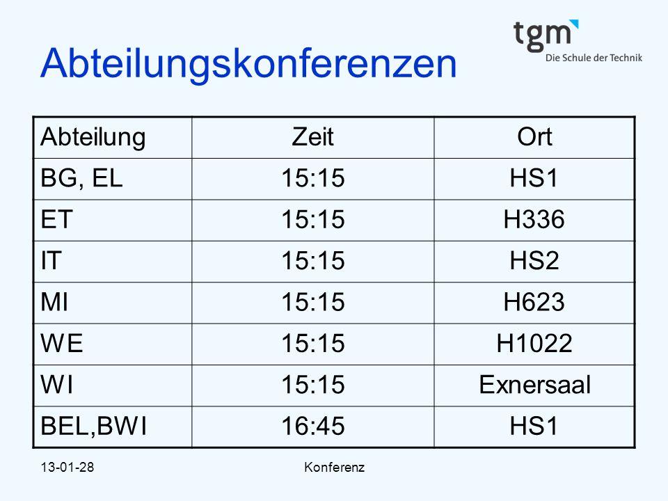 13-01-28Konferenz Abteilungskonferenzen AbteilungZeitOrt BG, EL15:15HS1 ET15:15H336 IT15:15HS2 MI15:15H623 WE15:15H1022 WI15:15Exnersaal BEL,BWI16:45H