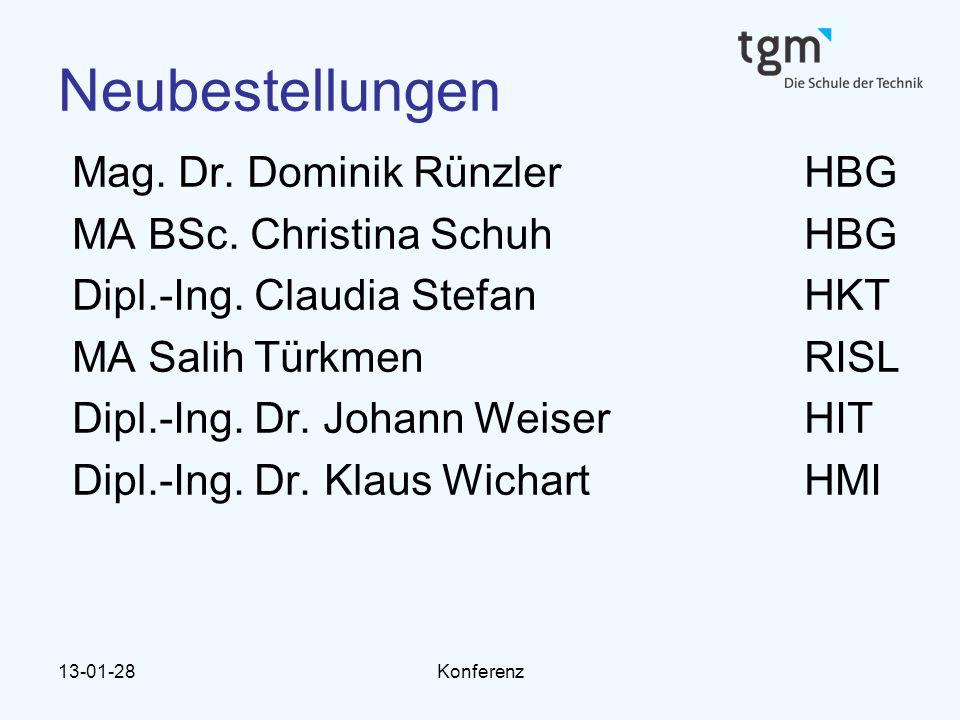 13-01-28Konferenz Neubestellungen Mag.Dr. Dominik RünzlerHBG MA BSc.