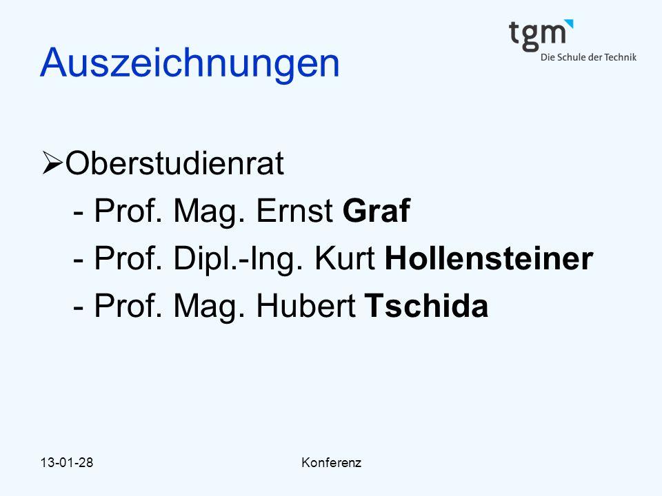 13-01-28Konferenz Auszeichnungen  Oberstudienrat -Prof. Mag. Ernst Graf -Prof. Dipl.-Ing. Kurt Hollensteiner -Prof. Mag. Hubert Tschida
