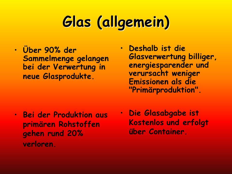 Glas (allgemein) Über 90% der Sammelmenge gelangen bei der Verwertung in neue Glasprodukte. Deshalb ist die Glasverwertung billiger, energiesparender