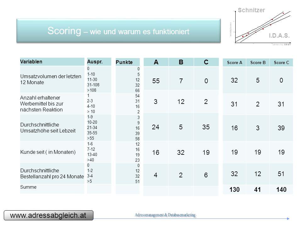 www.adressabgleich.at Schnitzer I.D.A.S.Scoring – wie und warum es funktioniert Auspr.