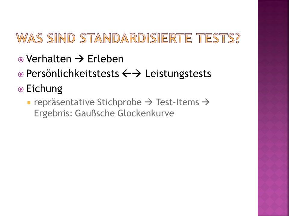  Verhalten  Erleben  Persönlichkeitstests  Leistungstests  Eichung  repräsentative Stichprobe  Test-Items  Ergebnis: Gaußsche Glockenkurve