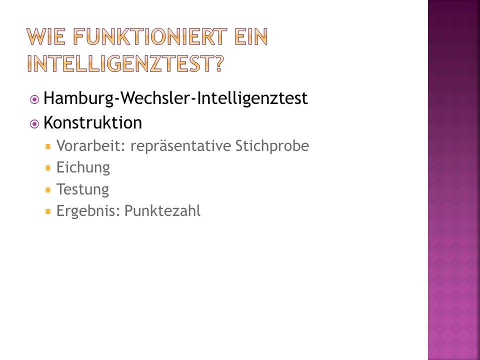 Hamburg-Wechsler-Intelligenztest  Konstruktion  Vorarbeit: repräsentative Stichprobe  Eichung  Testung  Ergebnis: Punktezahl