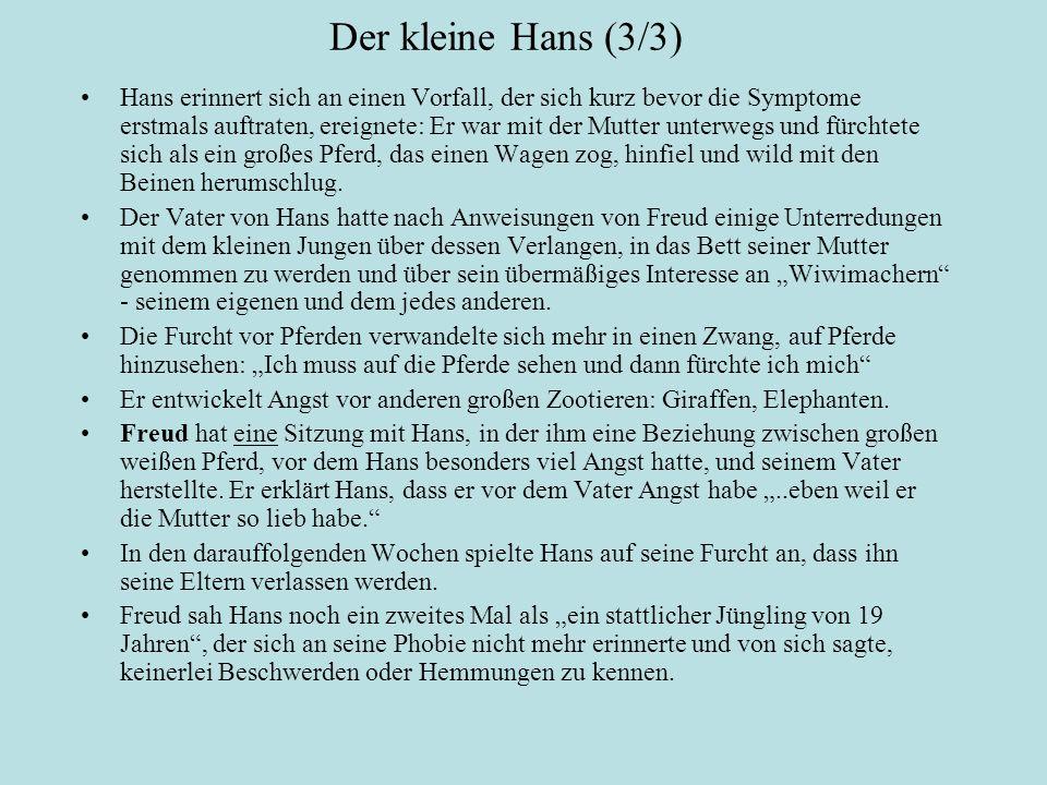 Der kleine Hans (3/3) Hans erinnert sich an einen Vorfall, der sich kurz bevor die Symptome erstmals auftraten, ereignete: Er war mit der Mutter unterwegs und fürchtete sich als ein großes Pferd, das einen Wagen zog, hinfiel und wild mit den Beinen herumschlug.