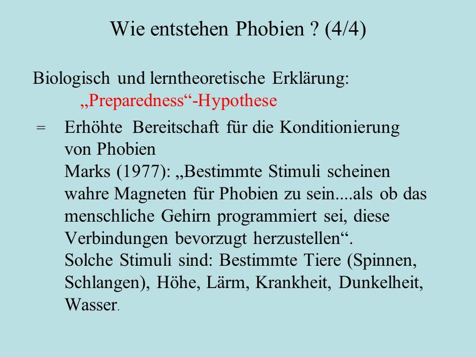 """Wie entstehen Phobien ? (4/4) Biologisch und lerntheoretische Erklärung: """"Preparedness""""-Hypothese = Erhöhte Bereitschaft für die Konditionierung von P"""