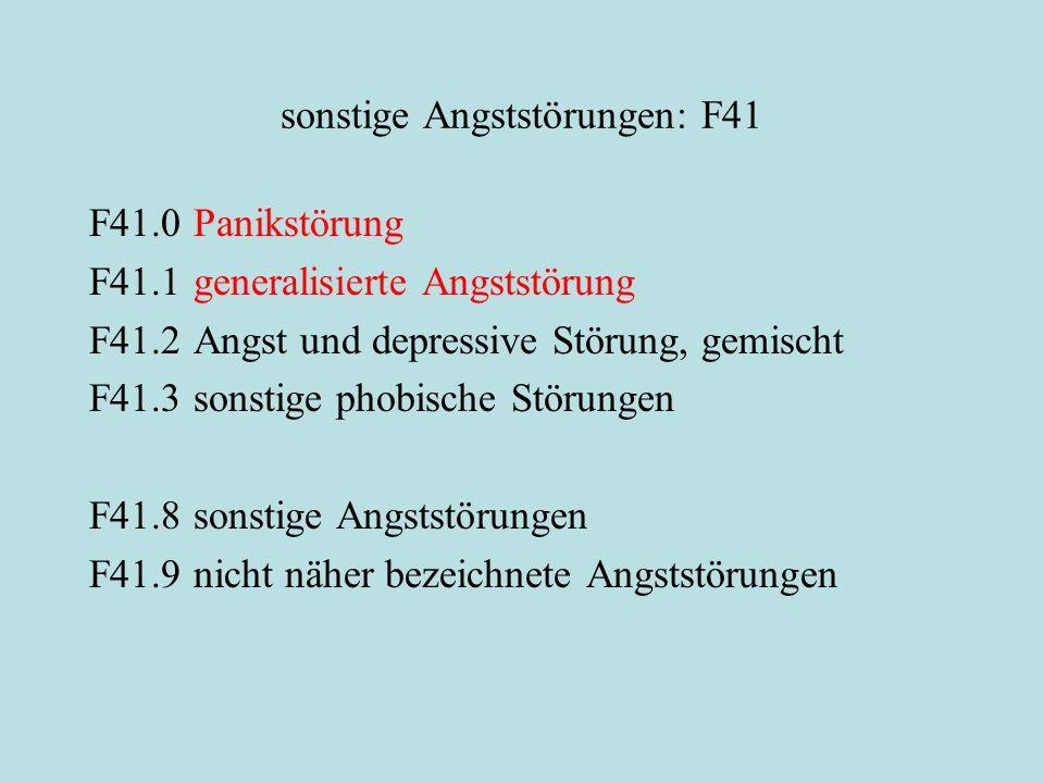 sonstige Angststörungen: F41 F41.0Panikstörung F41.1generalisierte Angststörung F41.2Angst und depressive Störung, gemischt F41.3sonstige phobische Störungen F41.8sonstige Angststörungen F41.9nicht näher bezeichnete Angststörungen
