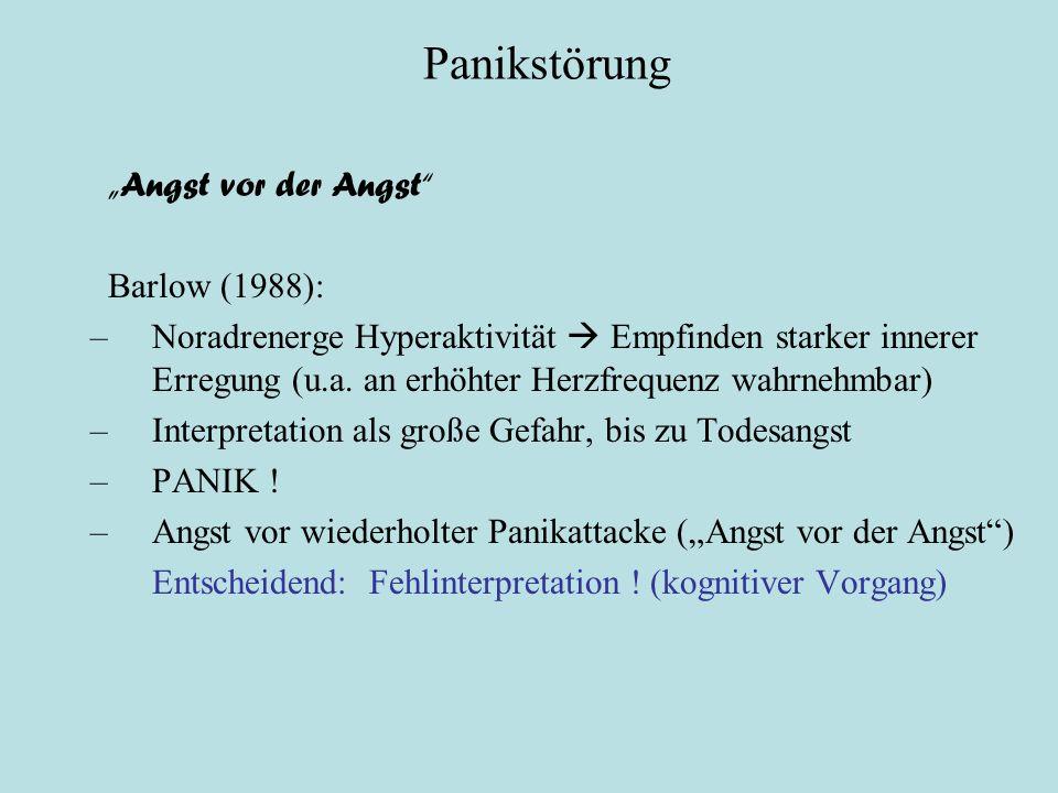 """Panikstörung Psychologische Theorien """"Angst vor der Angst Barlow (1988): –Noradrenerge Hyperaktivität  Empfinden starker innerer Erregung (u.a."""