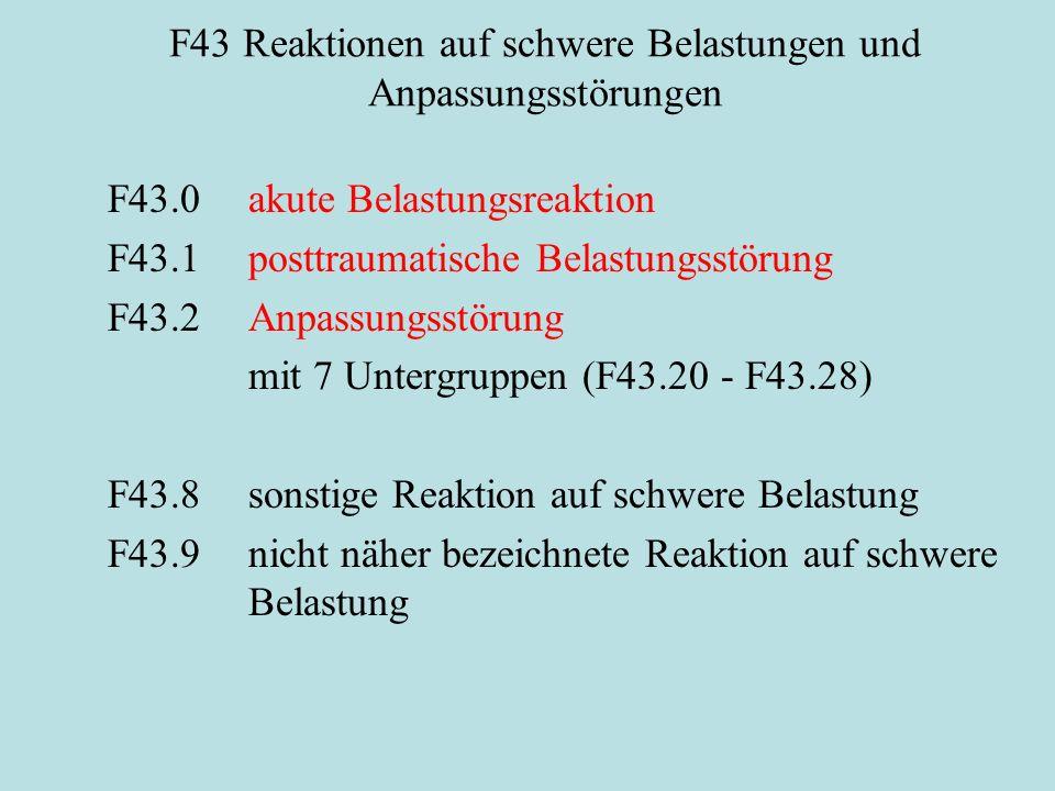 F43 Reaktionen auf schwere Belastungen und Anpassungsstörungen F43.0akute Belastungsreaktion F43.1posttraumatische Belastungsstörung F43.2Anpassungsstörung mit 7 Untergruppen (F43.20 - F43.28) F43.8sonstige Reaktion auf schwere Belastung F43.9nicht näher bezeichnete Reaktion auf schwere Belastung