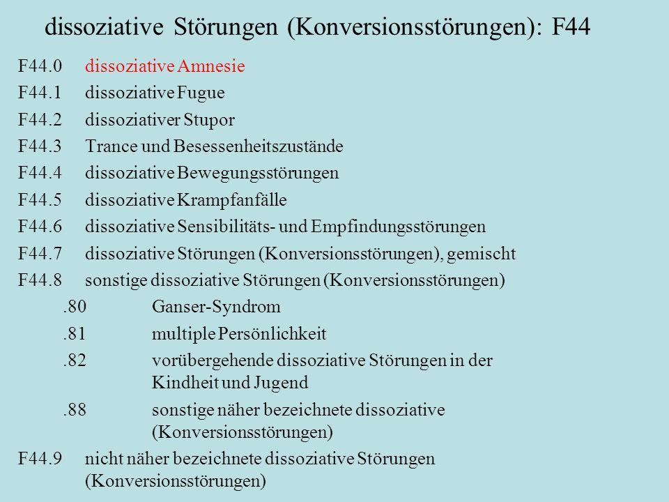 dissoziative Störungen (Konversionsstörungen): F44 F44.0dissoziative Amnesie F44.1dissoziative Fugue F44.2dissoziativer Stupor F44.3Trance und Besessenheitszustände F44.4dissoziative Bewegungsstörungen F44.5dissoziative Krampfanfälle F44.6dissoziative Sensibilitäts- und Empfindungsstörungen F44.7dissoziative Störungen (Konversionsstörungen), gemischt F44.8sonstige dissoziative Störungen (Konversionsstörungen).80Ganser-Syndrom.81 multiple Persönlichkeit.82vorübergehende dissoziative Störungen in der Kindheit und Jugend.88sonstige näher bezeichnete dissoziative (Konversionsstörungen) F44.9nicht näher bezeichnete dissoziative Störungen (Konversionsstörungen)