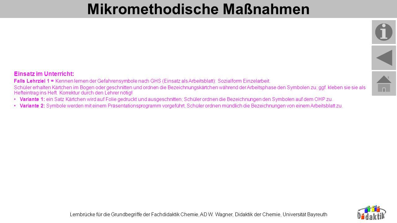 Mikromethodische Maßnahmen Lernbrücke für die Grundbegriffe der Fachdidaktik Chemie, AD W. Wagner, Didaktik der Chemie, Universität Bayreuth Einsatz i