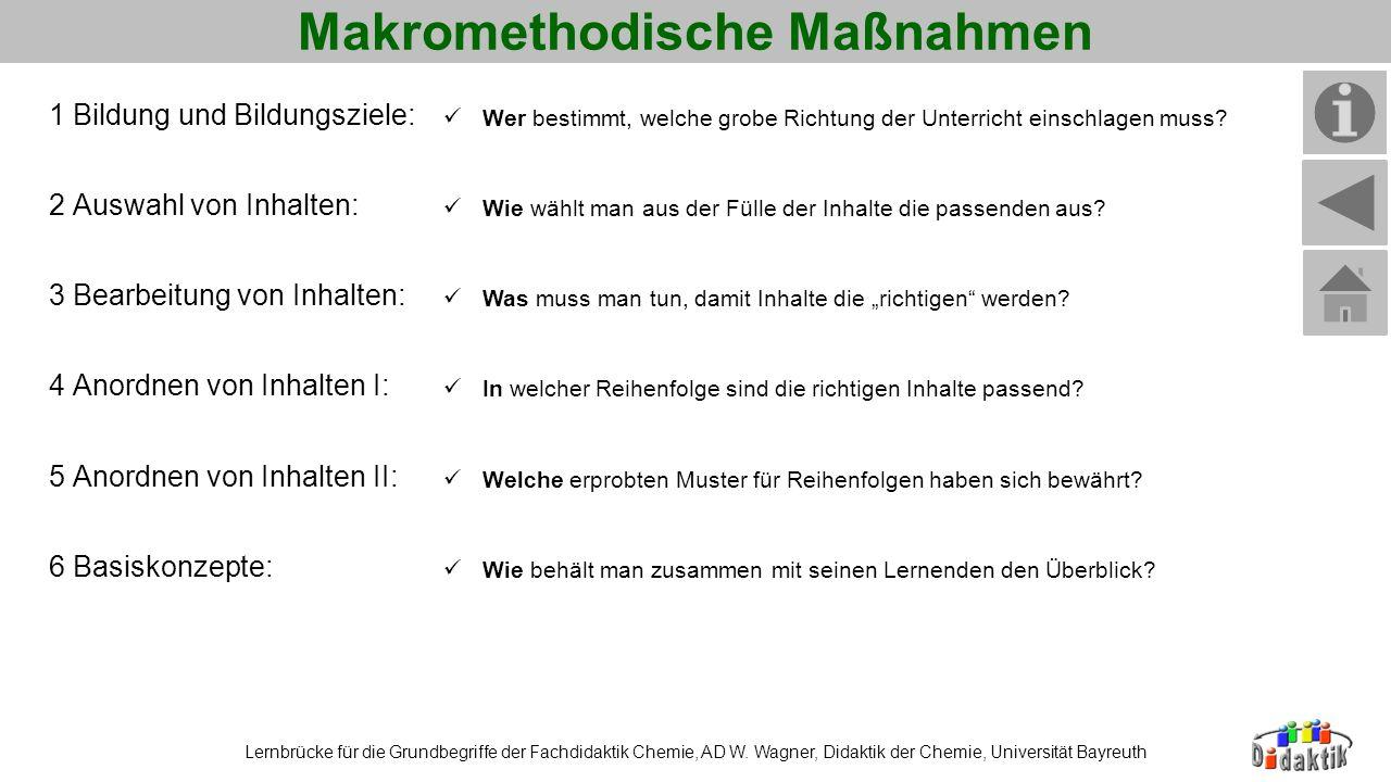 Makromethodische Maßnahmen Lernbrücke für die Grundbegriffe der Fachdidaktik Chemie, AD W. Wagner, Didaktik der Chemie, Universität Bayreuth 1 Bildung