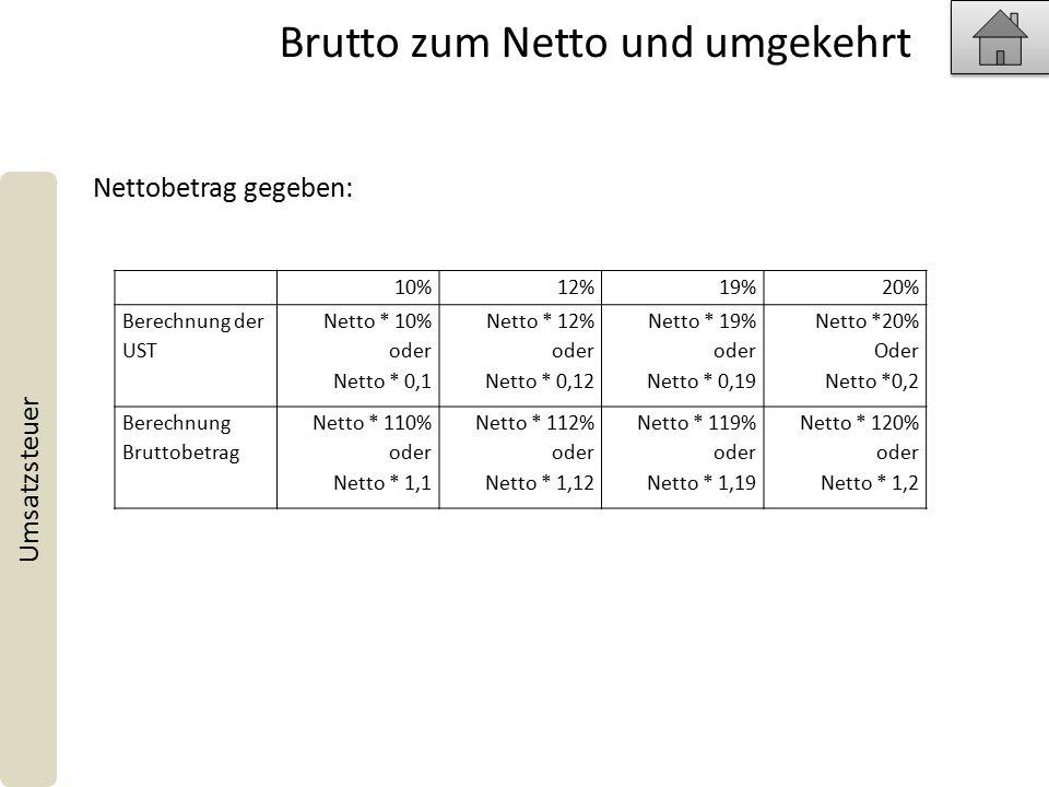 Brutto zum Netto und umgekehrt Umsatzsteuer 10%12%19%20% Berechnung der UST Netto * 10% oder Netto * 0,1 Netto * 12% oder Netto * 0,12 Netto * 19% oder Netto * 0,19 Netto *20% Oder Netto *0,2 Berechnung Bruttobetrag Netto * 110% oder Netto * 1,1 Netto * 112% oder Netto * 1,12 Netto * 119% oder Netto * 1,19 Netto * 120% oder Netto * 1,2 Nettobetrag gegeben: