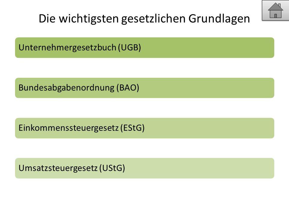 Die wichtigsten gesetzlichen Grundlagen Unternehmergesetzbuch (UGB)Bundesabgabenordnung (BAO)Einkommenssteuergesetz (EStG)Umsatzsteuergesetz (UStG)