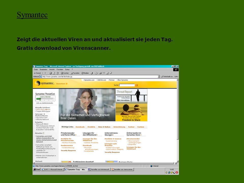 Symantec Zeigt die aktuellen Viren an und aktualisiert sie jeden Tag. Gratis download von Virenscanner.